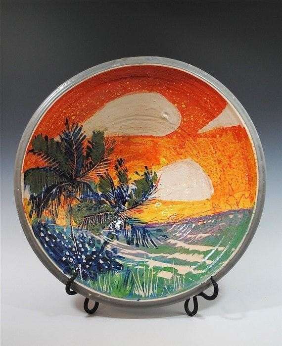 Painted Palm tree bowl