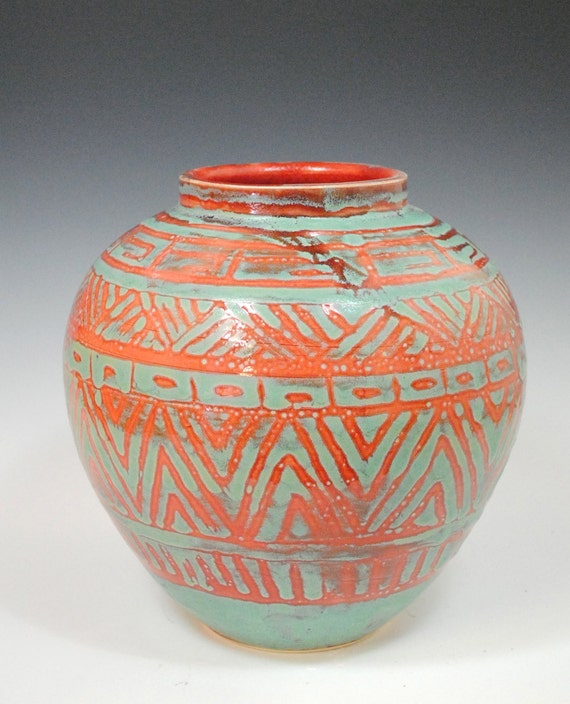 RESERVE for Jackie - Medium Red and Green Pot : Tribal Design Vase, Red and Green Ceramic Pottery Vase