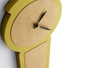 modern wall clock - simple chic - chartreuse, pale grey, ash grey, poppy red, white
