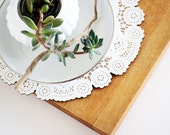 doily winter table decor - large wood doily