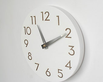 10 inch modern numbers clock simple white