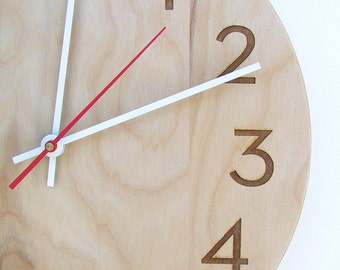 10 inch medium size modern wood wall clock with beautiful natural woodgrain and classy modern numbers