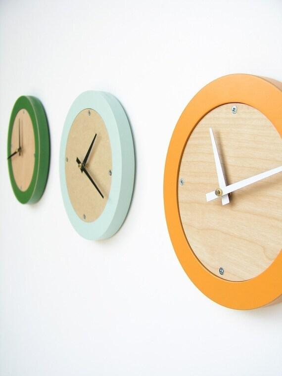 tangerine creamsicle modern wall clock