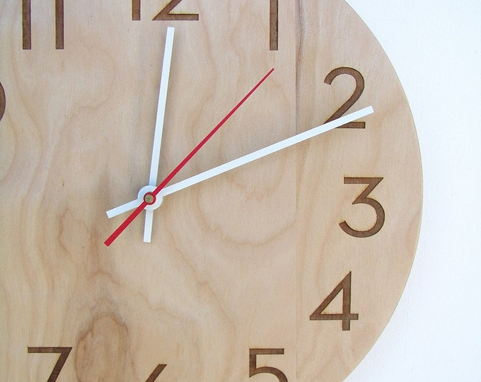10 inch modern wood wall clock with beautiful natural woodgrain and classy modern numbers