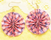Our Dance Origami Earrings - Blue Pink Paper Fan
