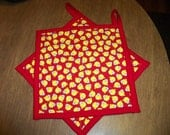 Quilted Pot Holders Hot Pads Little Chickens Red Yellow