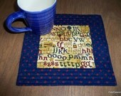 Teacher Appreciation Gift Quilted Mug Rug Mini Mat Snack Mat