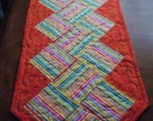Striped Quilted Table Runner Orange Patchwork