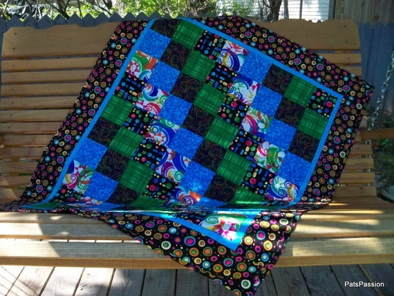 Patchwork Lap Quilt, Quilted Throw or Picnic Blanket Black Blue Green