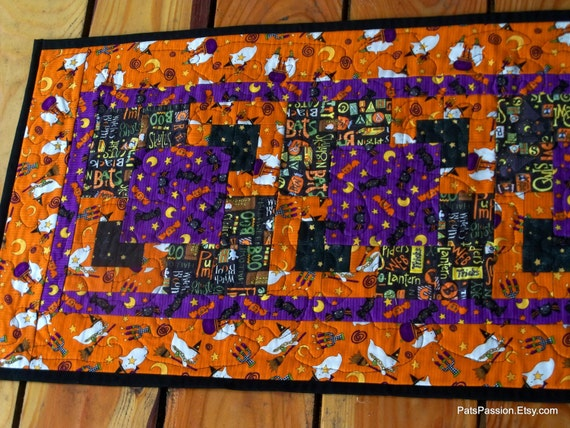 Halloween Ghosts and Witches Patchwork Table Runner Quilted