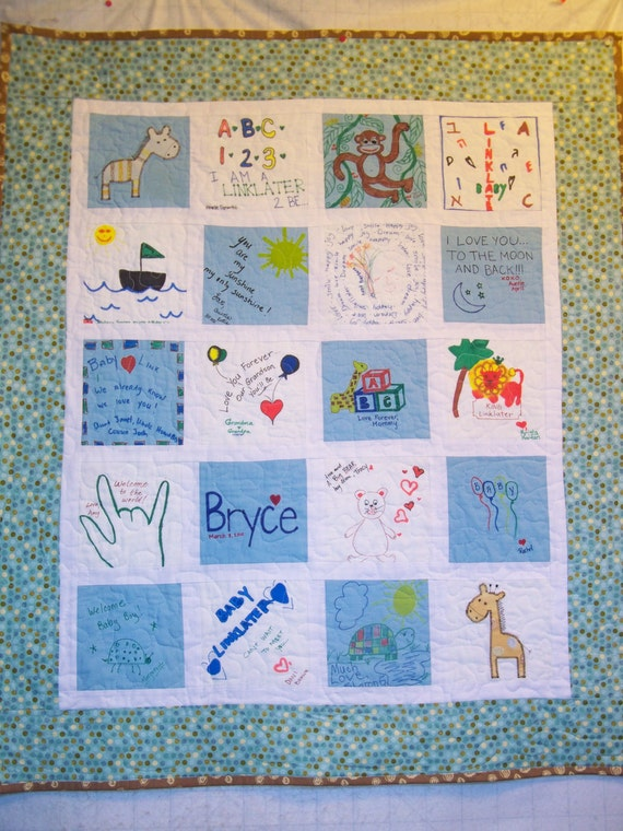 Custom Listing for April-Keepsake Baby Shower Memory Quilt