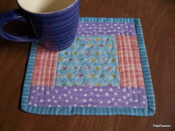 Quilted Mug Rug Mini Mat or Snack Mat Sewers Gift