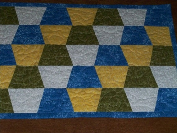 In The Meadow Table Runner in Blue, Yellow, Green and White   Ready to Ship