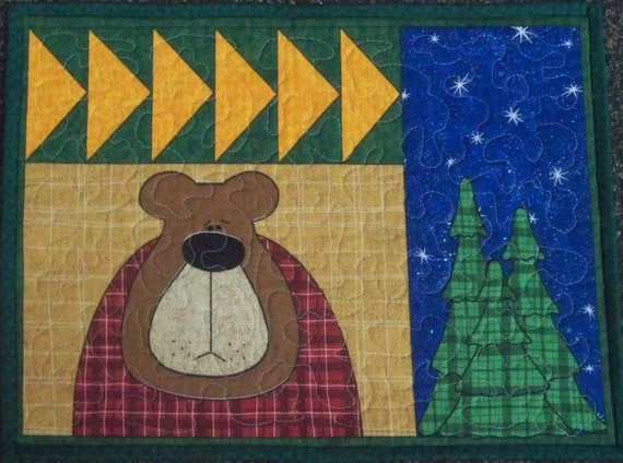 Quilted Place Mats Bear Moose Set of 4