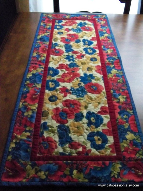 Red Blue Gold Floral Table Runner Quilted Patchwork