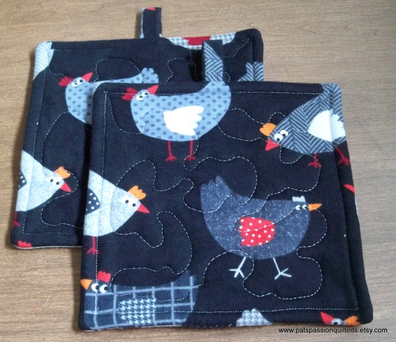 Quilted Pot Holders or Hot Pads Chickens Black White Set of 2