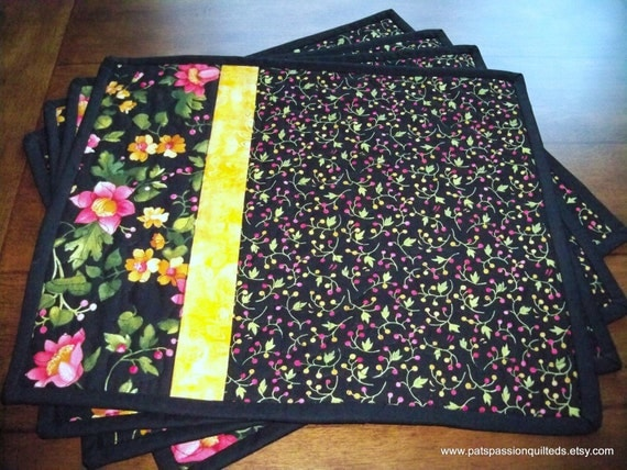 Black Floral Quilted Place Mats Set of 4