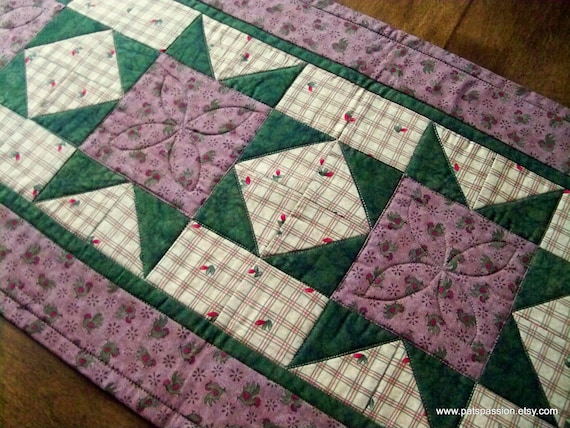 Quilted Table Runner Farm House Decor Roosters Green Brown Tan
