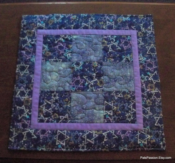 Hanukkah Quilted Table Topper Star of David