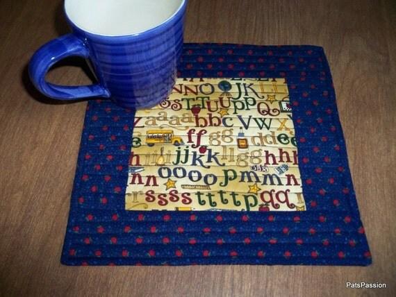 Teacher Appreciation Gift Quilted Mug Rug Mini Mat Snack Mat