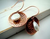 Hammered Copper Disc Earrings with freshwater pearls