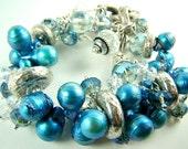 Blue cha cha bracelet, blue pearls, pearl cluster bracelet, chunky charm bracelet... INDIGO