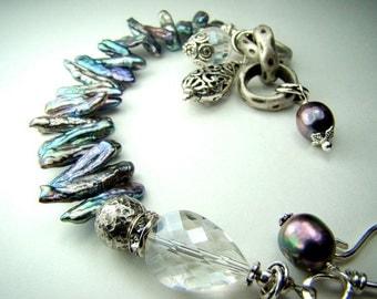 Blue pearl bracelet, stick pearls, charm bracelet, heavy silver chain... COOL WATERS