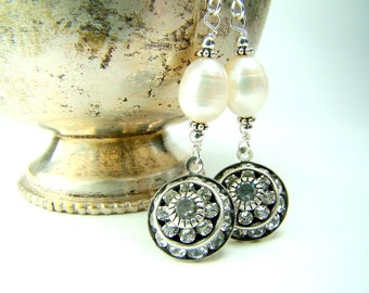 Pearl Earrings with Swarovski Crystal Pendant and Sterling Silver
