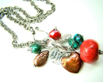 Red coral necklace, pearl charm necklace, turquoise, southwestern jewelry... Phoenix Necklace
