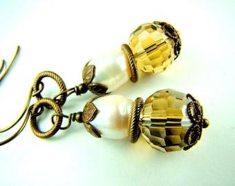 Pearl dangle earrings, antiqued bronze, amber crystal earrings, ... Vintage Charm