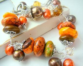 Chunky orange bracelet, fall colors, gemstone charm bracelet, burnt orange turquoise stone charm bracelet, ... INDIAN SUMMER