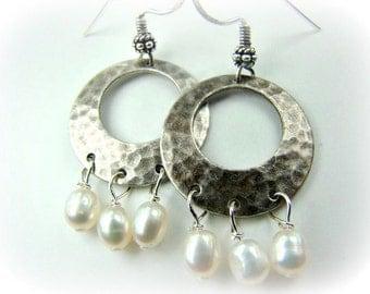 Silver hoop earrings, pearl earrings, hammered silver hoops