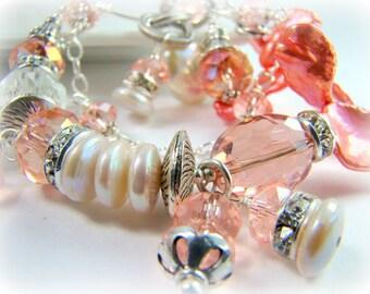ALL BRACELETS 20% off! Peach pearl bracelet, bridal jewelry, chunky double strand bracelet.