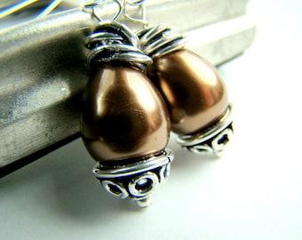 Chocolate brown shell pearl earrings... CHOCOLATE KISSES