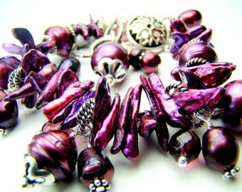 ALL BRACELETS 20% off! Purple pearl bracelet, cha cha bracelet, chunky charm bracelet... EGGPLANT