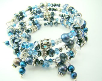 Blue wrap bracelet, bangle bracelet, denim blue pearl crystal charm bracelet,... THAT'S A WRAP(in blue)