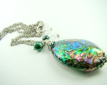 Abalone shell pendant necklace, long silver chain, blue green freshwater pearls