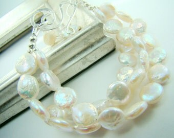 Triple strand pearl bracelet, white coin pearls, bridal fashion...Baby Coins