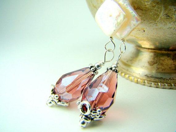 Sorbet... plum purple crystal pearl dangle earrings