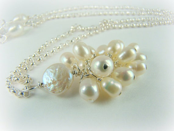 Freshwater pearl necklace, sterling silver chain... Sweet Sixteen