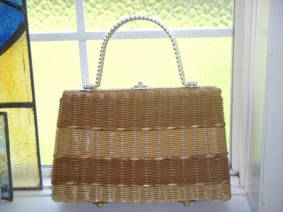 REDUCED Vintage Basket weave Purse Two Tone British Hong Kong Natural Earthy
