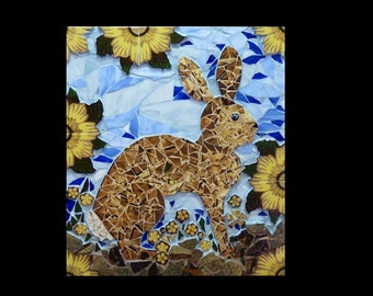 Rabbit Mosaic Wall Hanging Made with Vintage Tiles