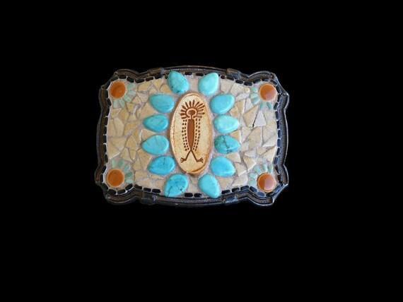 Unisex Southwestern Native American  Style Turquoise and Petroglyph Mosaic Belt Buckle