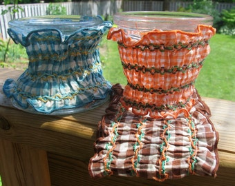 Three Vintage Embroidered Gingham Pot or Vase Covers, Country Wedding
