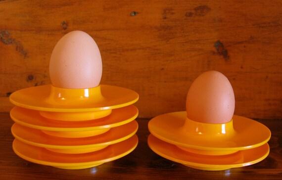 2 Mid Century Modern Danish Mepal Rosti Egg Cups, Sunny Yellow, reserved for Jutta