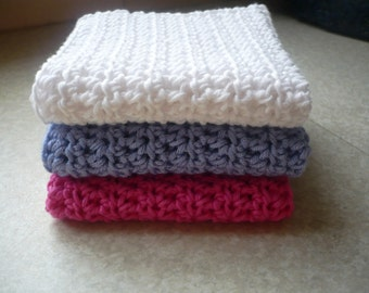 Three Cotton Wipes-Fushia,Lavender and White