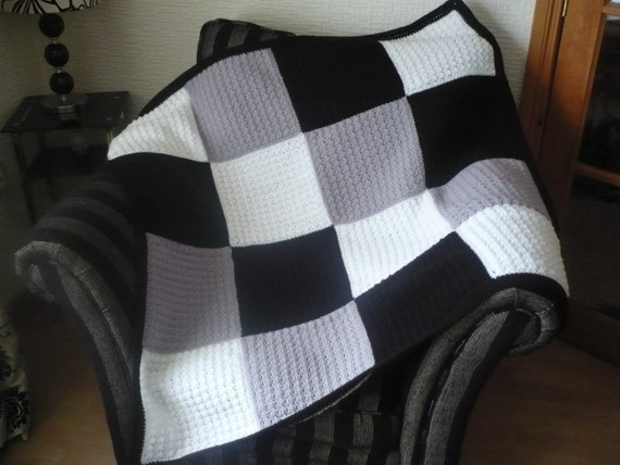 White Black And Grey Afghan