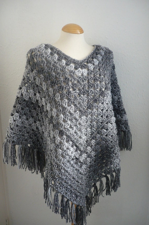 Womens Poncho in Shades of Grey Ready to Ship by Aalexi on ...