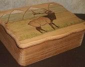 Rustic Wood Box with Elk Design