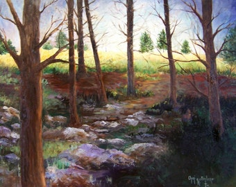 Landscape Oil Painting, Sunrise Behind Trees,  22x28 Canvas Board Original Oil Painting by Cheri Wollenberg